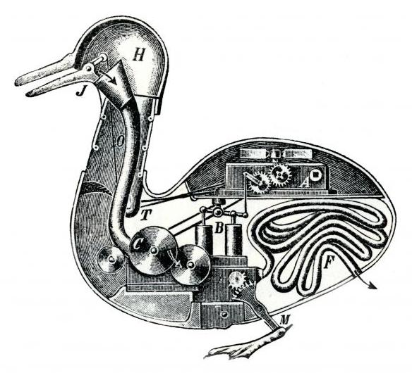 Mechanická kačica z dielne Jacques de Vaucansona (foto: Wikimedia Commons)