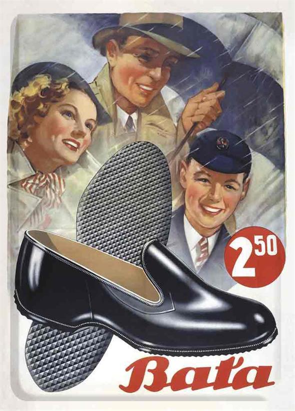 Dobová reklama na topánky značky Baťa