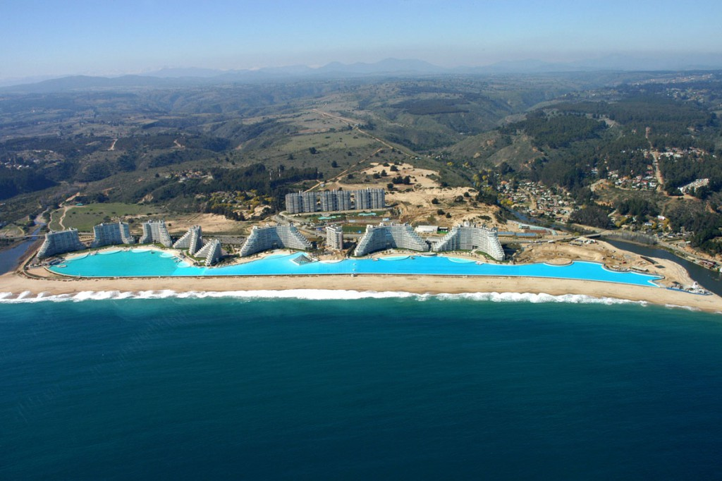 An aerial view of the giant swimming pool at the resort of San Alfonso del Mar in Algarrobo city on the southern coast of Chile
