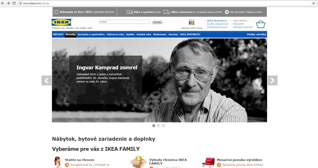 Úmrtie zakladateľa pripomínala aj slovenská pobočka IKEA na svojich webstránkach