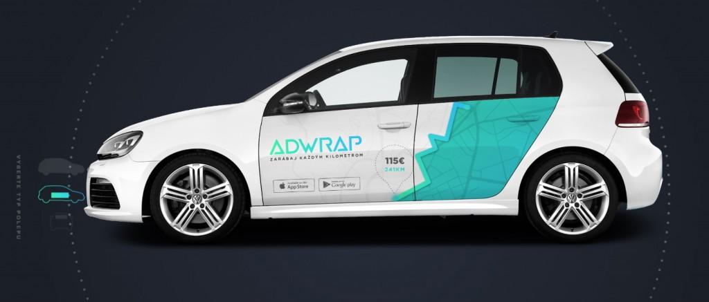 Ukážka reklamy polepenej na aute