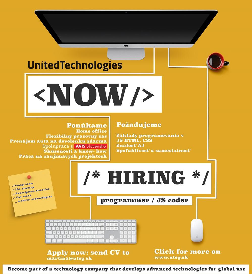 Hľadáme nového JS programátora - UnitedTechnologies