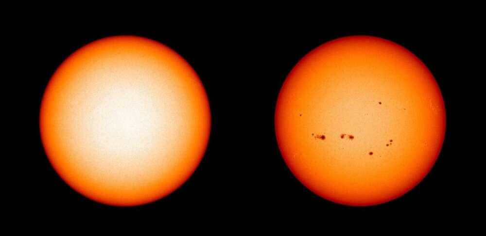 Žiadne slnečné škvrny na Slnku počas decembra 2019 (minimum) v porovnaní s maximom v júli 2014. Foto: NASA/SDO/Joy Ng via IFLScience